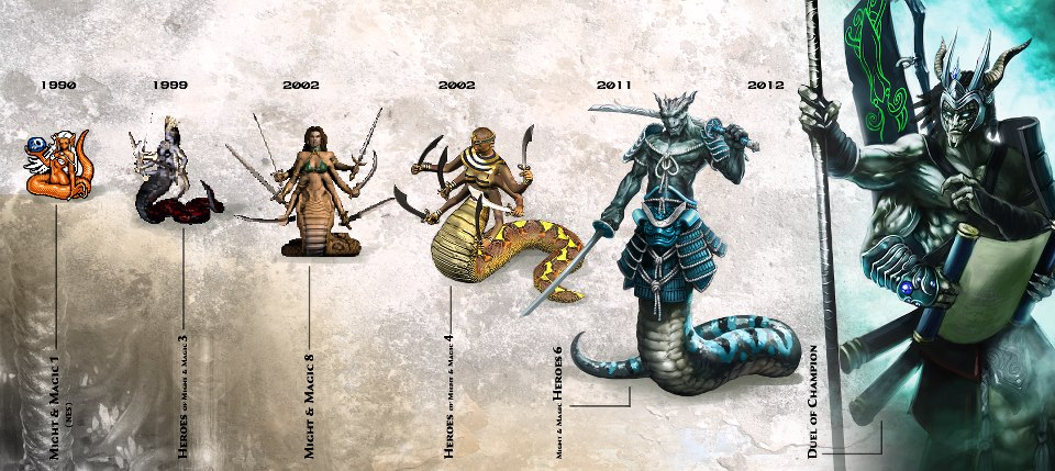 The evolution of the Naga in Might and Magic
